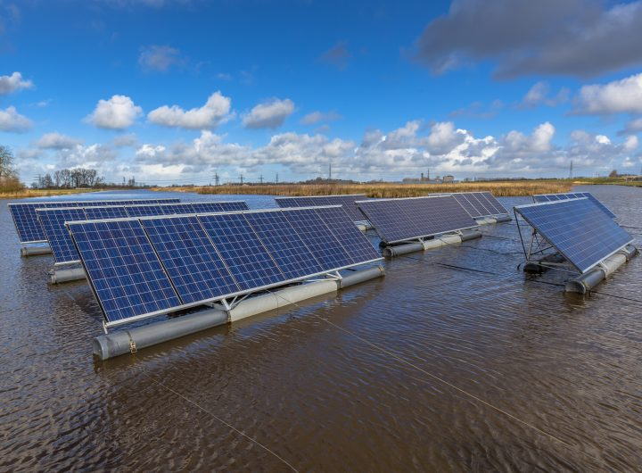 Solar panels floating on lake