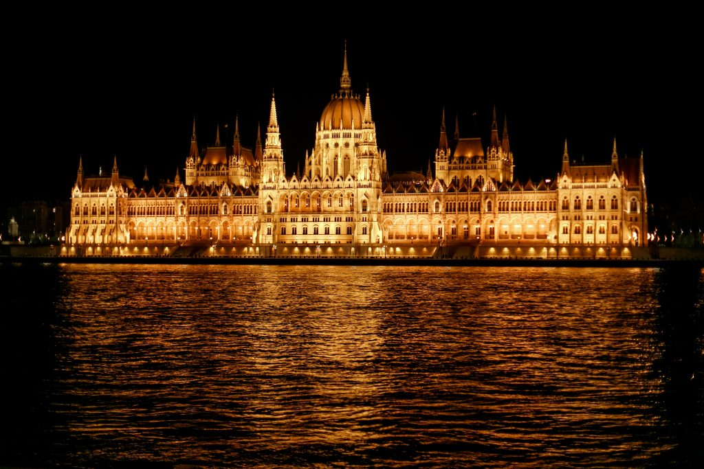 amazing night view of old  parliament building and river and cit