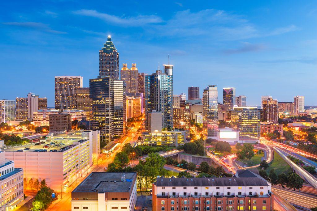 Atlanta, Georgia, USA downtown cityscape from above