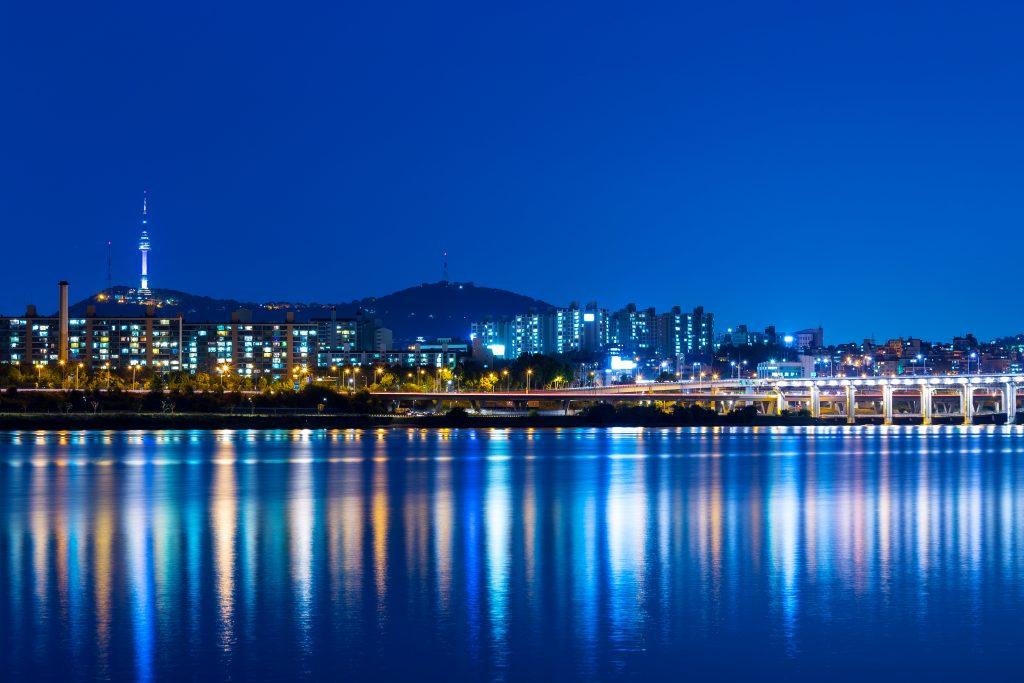 Seoul city skyline at night