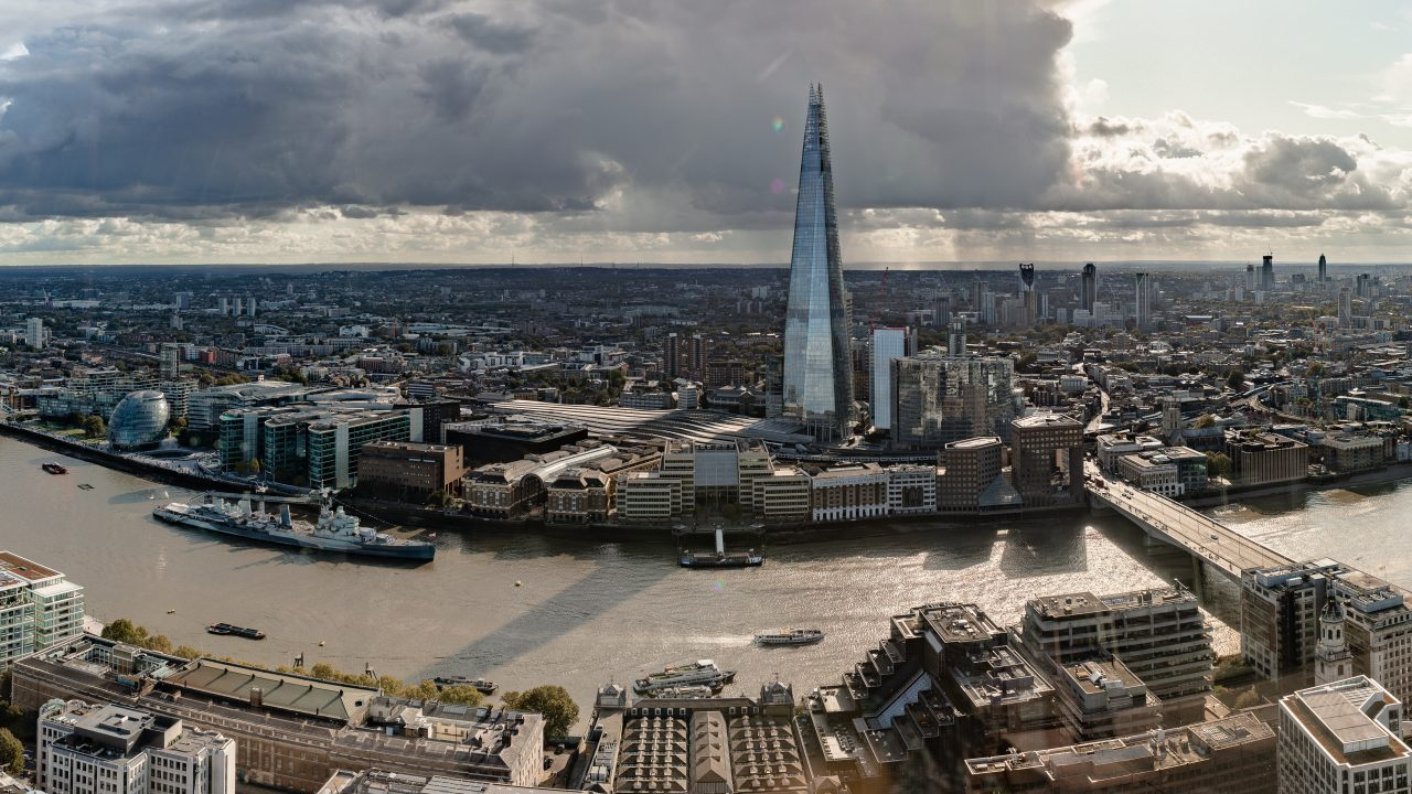 View over the Thames and city of London from the Sky Garden, Uni