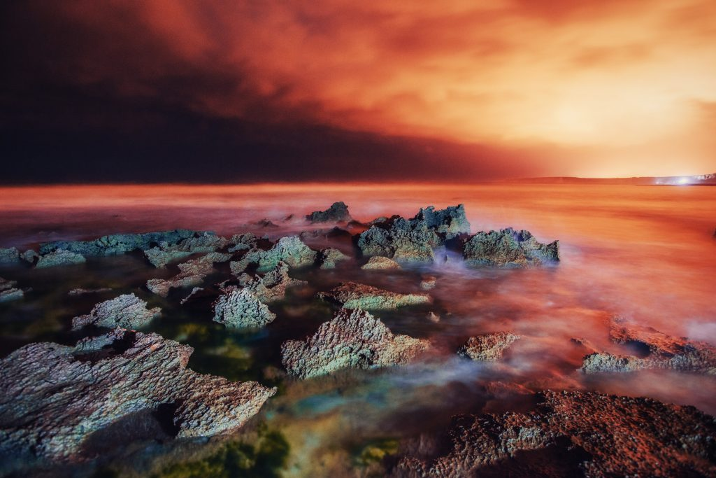 Spring panorama of sea coast city Trapany. Fantastic sunset.  Si