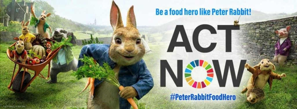 Peter Rabbit has joined forces with the United Nations, the UN Food and Agriculture Organization and the UN Foundation to promote actions that are good for your health and for the planet. PHOTO:PETER RABBIT™ & © FW&Co. © 2021 CTMG.